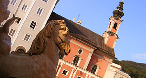 St. Michaelerkirche in Salzburg on a sunny day in late summer.