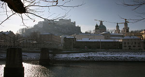 Mozartsteg and parts of the Altstadt seen in winter.