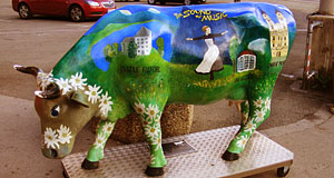 A cow enacting The Sound of Music in the city centre of Salzburg.