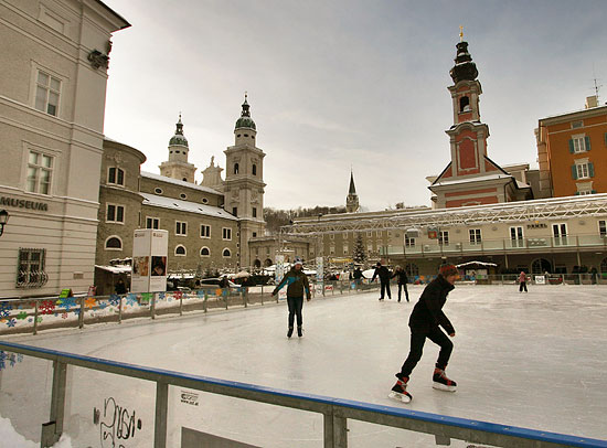 An ice rink is built at the heart of Salzburg's city centre every year