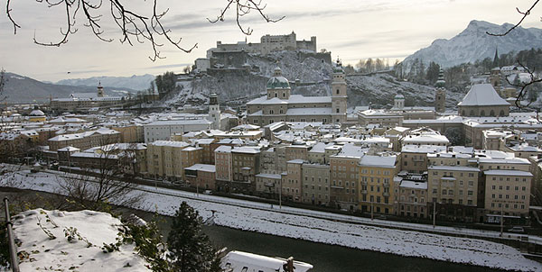View on winterly Salzburg with lots of snow