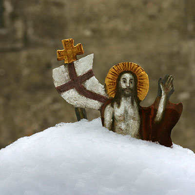 A little depiction of Jesus in the snow at St. Peter's Abbey