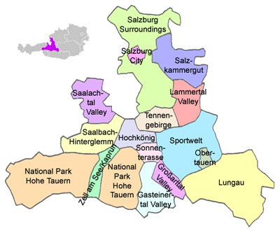 The Salzburgerland or Salzburg Province, divided into tourism areas